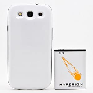 Hyperion Samsung Galaxy SIII 4200mAh Extended Battery + White Back Cover (Compatible with Samsung Galaxy S III GT-i9300, AT&T Samsung Galaxy S3 Samsung i747, Verizon Samsung Galaxy S3 Samsung i535, T-mobile Samsung Galaxy S3 Samsung T999, U.S. Cellular Samsung Galaxy S3 R530, and Sprint Samsung Galaxy S3 Samsung L710)** NOW WITH NFC **
