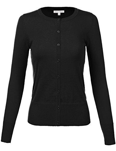 Plus Size Simple Crew Neck Long Sleeve Solid Color Cardigans,020-Black,US 3XL