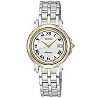 Seiko Women's Quartz Watch with White Dial Analogue Display and Silver Stainless Steel Bracelet SXDE02P1