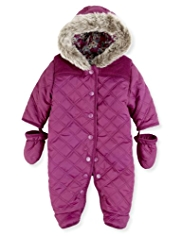 Hooded Faux Fur Trim Quilted Snowsuit with Mittens