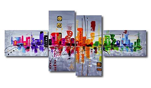 Quadro su tela handpainted look 160 x 70 cm 4 tele modello nr XXL 6515. I quadri sono montati su telai di vero legno. Stampa artistica intelaiata e pronta da appendere