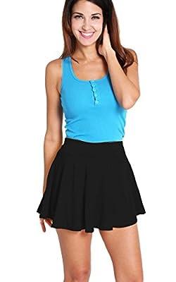 ACEVOG Women's Stretch Waist Flared Skater Skirt Dress Mini Skirt