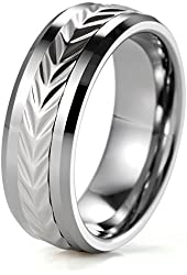 SHARDON Men's 8mm Width Tungsten with Stainless Steel Engraved Arrows Pattern Spinner Wedding Ring