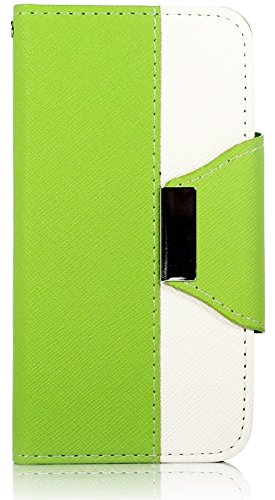 Mylife Bright Green And White Fashion Design - Textured Koskin Faux Leather (Card And Id Holder + Magnetic Detachable Closing) Slim Wallet For Iphone 5/5S (5G) 5Th Generation Smartphone By Apple (External Rugged Synthetic Leather With Magnetic Clip + Inte