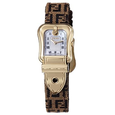 Fendi B. Fendi Ladies Brown Fabric Leather Strap Yellow Gold Plated Watch F373242F