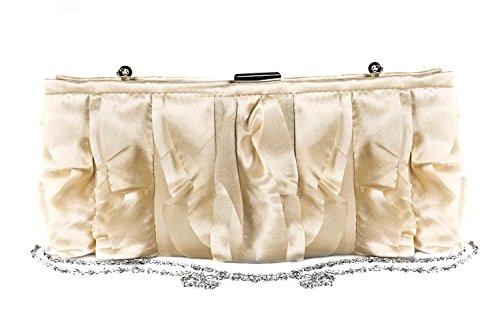 Borsetta donna MARINA GALANTI beige pochette elegante in raso con frange N408