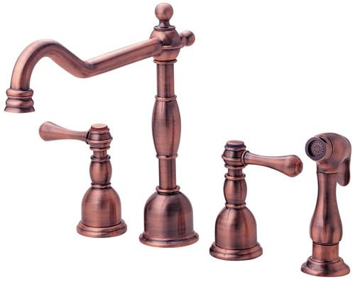 Danze D422057AC Opulence Two Handle Kitchen Faucet with Matching Side Spray, Antique Copper