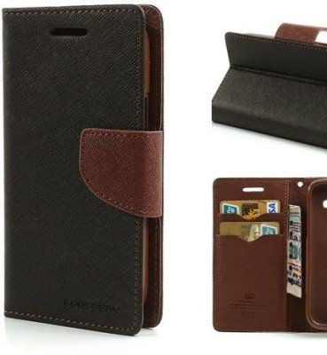 Mercury Flip Wallet Diary Card Case Cover for Samsung Galaxy Note 1 GT- i9220 N7000-Black/Brown