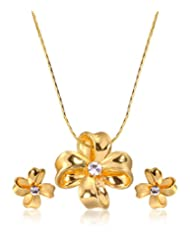 Eclat Brass Gold Plated Pendant Set For Women New Fashion Jewelry (314115G)