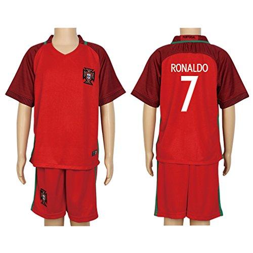 2016 UEFA Euro #7 Ronaldo Red Home Kids Soccer Jersey & Short Kit Set