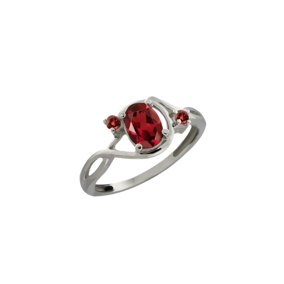 Ct Oval Red Garnet and Cognac Red Diamond 18k White Gold Ring Jewelry