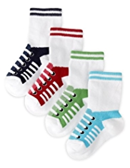 4 Pairs of Cotton Rich Shoe Print Baby Socks