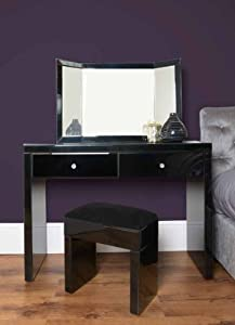 Venetian Black Glass High Gloss Mirrored Dressing Table / Console + Triple folding dressing table mirror + STOOL       Customer review