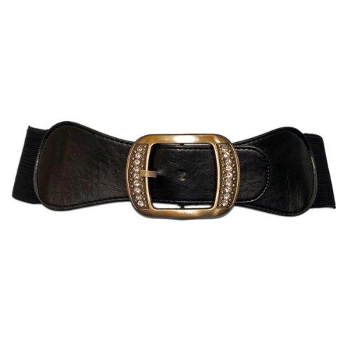 eVogues Plus Size Rhinestone Studded Burnished Buckle Elastic Belt Black - One Size Plus