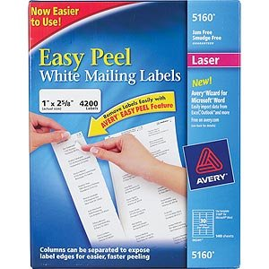 Avery Easy Peel White Address Labels for Laser Printers 5160 1 x 2-5 8 Box of 4200B0006GSKY6 : image