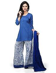 Vastra Vinod Blue Cotton Readymade Kurti With Palazzo Pant