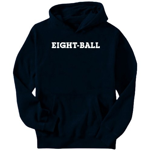Eight-Ball Simple / Basic Sports Mens Hoodie (Navy Blue, Size Large)
