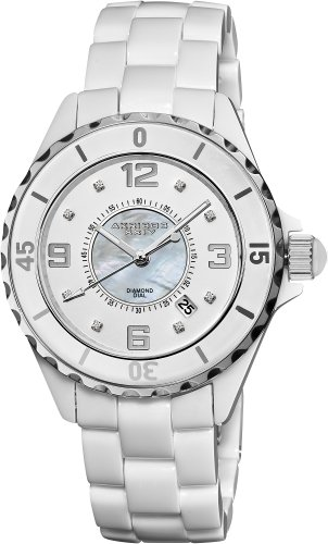 Akribos XXIV Women's AK484WT-N Ceramic Quartz Date Diamond Watch
