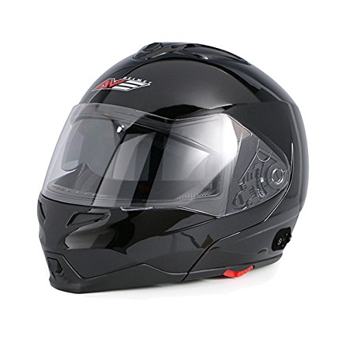 AVE A-20 Atom Modular Flip-Up Motorcycle Helmet with Integrated Bluetooth and Drop Down Sun Visor (Black, XX-Large)