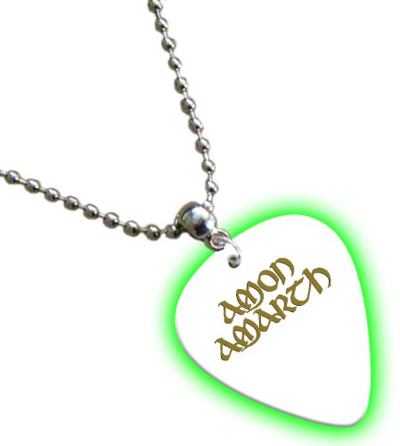 Amon Amarth Hot Foil on White Bagliore nel buio Pick Collana Necklace Plettro Plettri