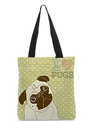 Snoogg I Love Pugs Cute Little Pug On Polka Dot Background Designer Poly Canvas Tote Bag