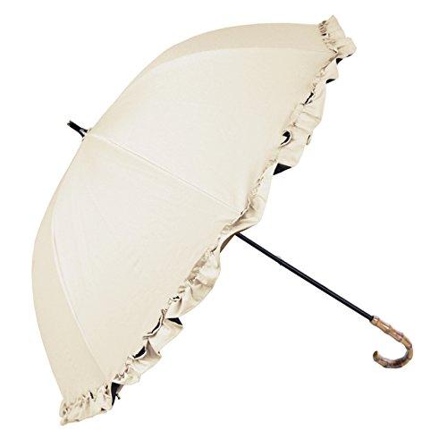 【Rose Blanc】2014新作 100%完全遮光 日傘 シングルフリル ショートサイズ プレーン 50cm ベージュ