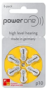 Hearing Aid Battery Powerone size 10 made in Germany Genuine 60 Pack