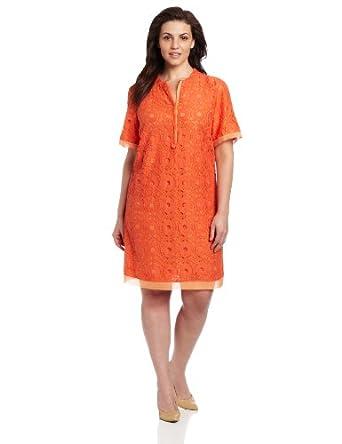 Gabby Skye Women's Plus-Size Lined Lace Shift Dress