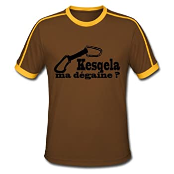 Spreadshirt, degaine, Tee shirt Retro Homme, chocolat/soleil, XL