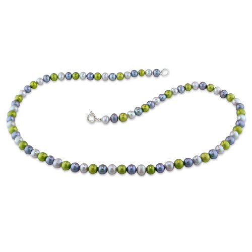 5-6 mm FW Grey, Green and Black Pearl Single Row Necklace, 16.5