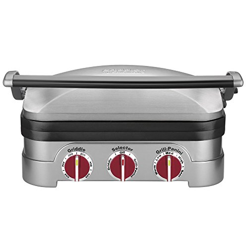 Review Cuisinart GR-4NR 5-in-1 Griddler, Silver, Red Dials