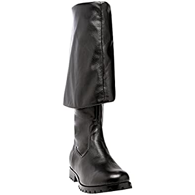 mens cuff pirate boots black leather 1 1 2