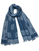 Chinese English Character Seal Stamps Cotton Long Scarf Shawl - Blue