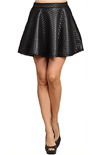 Women's New Black Skater Faux leather quilted mini skirt (Womens Quilted Mini Skirt compare prices)