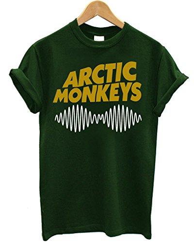 """T-shirt Uomo """"Arctic Monkeys"""" - Maglietta indie rock bicolor 100% cotone LaMAGLIERIA, M, Verde"""