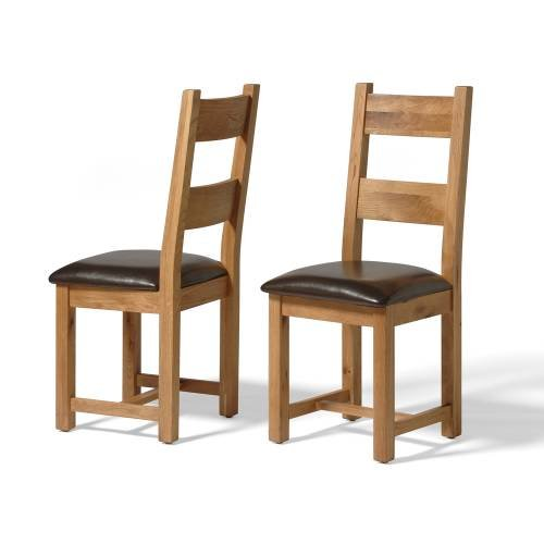 Vancouver Oak Leather Seat Dining Chair(Sold in a Pair)