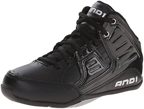 AND 1 Rocket 4.0 Skate Shoe (Little Kid/Big Kid), Black/Black/Silver, 2 M US Little Kid
