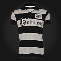 Guinness Black Gray Stripe Cut and Sew Polo