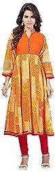 INDIAN FASHION LADY Women's Cotton Kurtas (Ifl-96 , Orange)