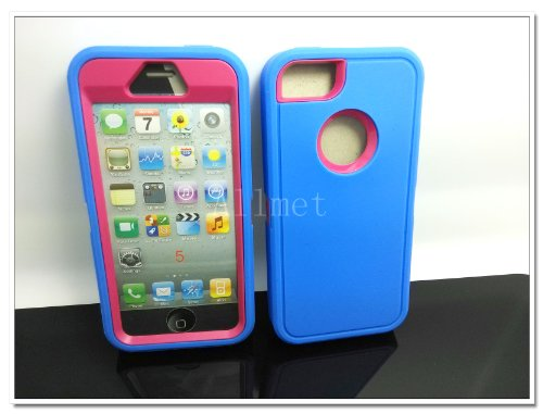 >>  Multi Color Iphone 5 5S Body Armor Silicone Hybrid Cove Hard Case, Three Layer Silicone PC Case Cover for iPhone 5 5S (Blue+Pink)