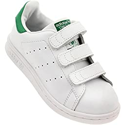 Adidas Kids Stan Smith CF C Originals Frwwht/Ftwwht/Green Casual Shoe 3 Kids US