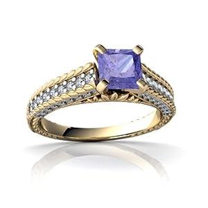 Genuine Tanzanite 14kt Yellow Gold engagement Ring - Size 5.5
