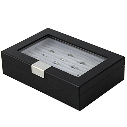 Tsrb610Essbk Ring Cufflink Box Storage Black Wood Grain Finish Glass Window