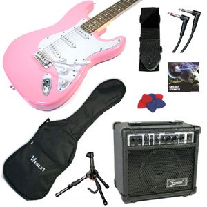 PROFESSIONALLY SET-UP - PINK ELECTRIC GUITAR AMPLIFER STARTER PACKAGE