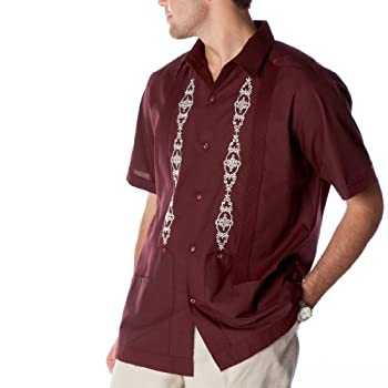 Men's guayabera poly-cotton embroidered 2 pockets.