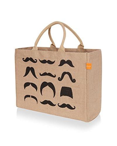 KAF Home Moustache Jute Market Tote, Black
