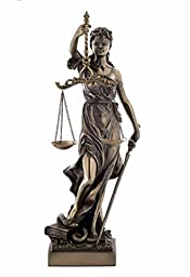 13 Inch La Justicia Blind Folded Women Cold Cast Bronze Figurine by US