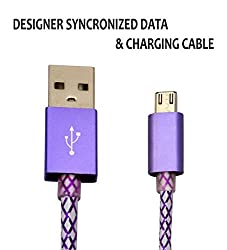Hello Zone Exclusive Designer Series Micro USB Data Charging/Sync Cable for Sony Xperia E5 Dual -Purple