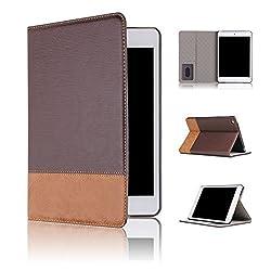 Qinda Luxury Leather Smart Flip Case cover for Apple iPad Air 2 [Sleep/Wake] (Dark Brown)