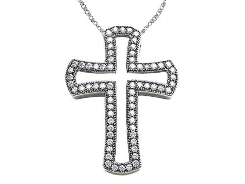 Zoe R Hand Set Cubic Zirconia Medium Cross Pendant